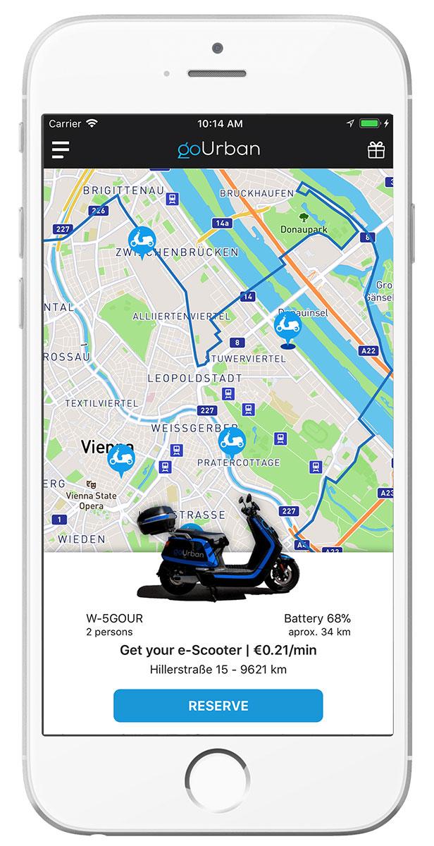 Mobiler Mockup der goUrban-App
