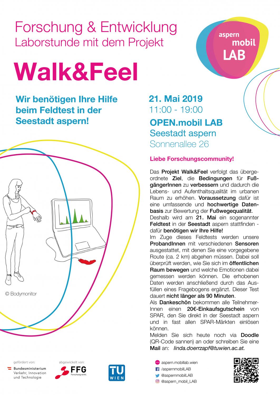 Plakat: Einladung zum Feldtest Walk&Feel