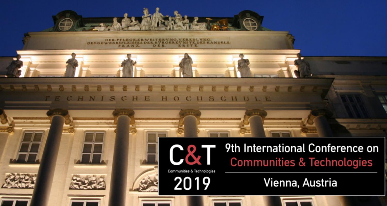 Logo der Communities & Technologies 2019 mit Gebäudeansicht der TU Wien