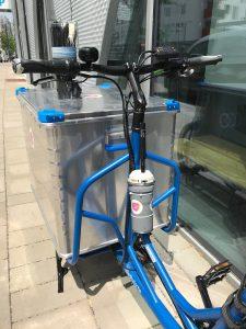 Pocobo-Sensor am AML-Lastenfahrrad montiert.
