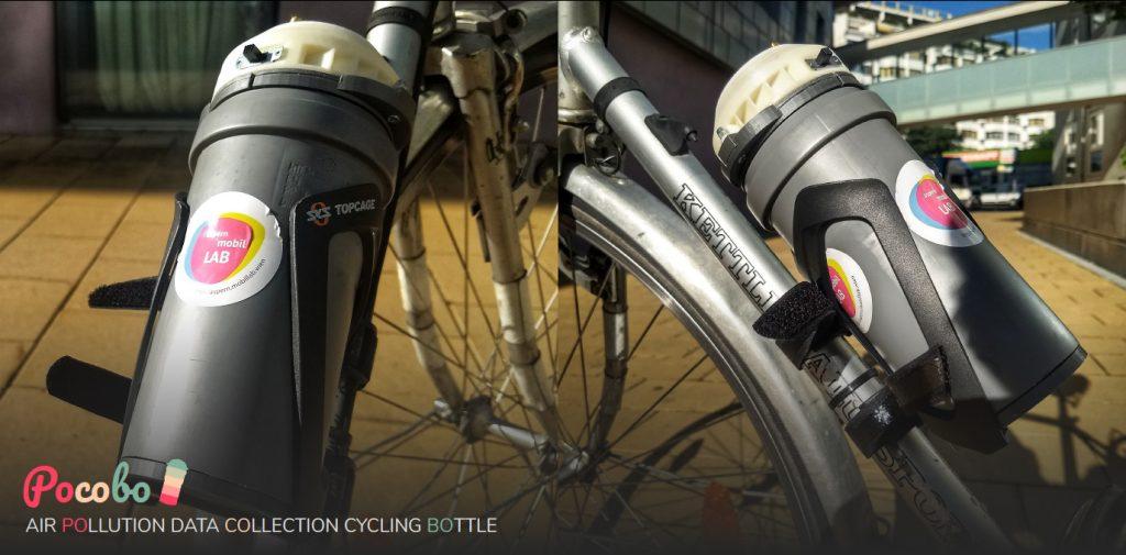 Pocobo Sensor im Flaschenhalter des Fahrrads montiert