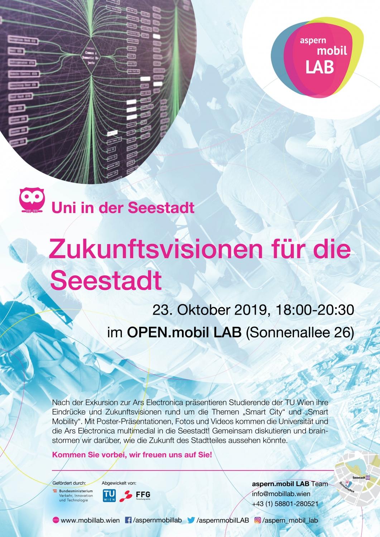 Plakat Uni in der Seestadt - Zukunftsvisionen für die Seestadt